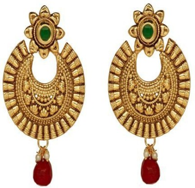 ACW Gold Plated Chand Bali with Green and Maroon Stone Earrings for Women Alloy Chandbali Earring