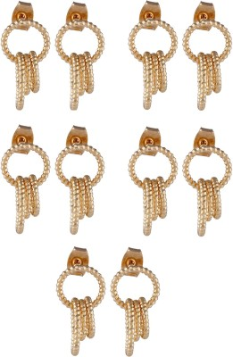 Dubbai Gold Circular Rings Metal Earring Set
