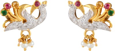 Gothis Peacock Gold Stud Earring