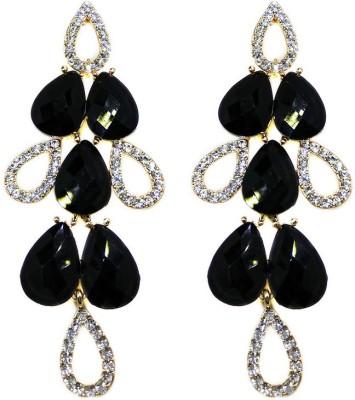 000 Fashions Black Leaf Austrian Crystal for Women Alloy Drop Earring