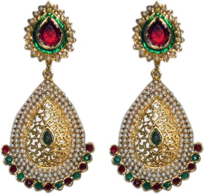 ACW Gold Plated Danglers Emblished with Pearl, Green and Maroon Stones Earrings for Women Alloy Dangle Earring
