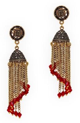 Jaipur Mart Oxidised Gold Plated Maroon Spiral Alloy Jhumki Earring