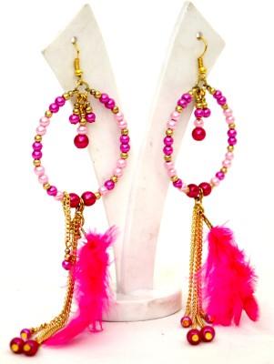 Galz4ever Metal chain & Pink Feather Drop Metal, Plastic Hoop Earring