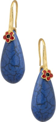 Voylla Pair Of Earrings With Floral Enamel Design And Blue Color Stone Crystal Alloy Dangle Earring