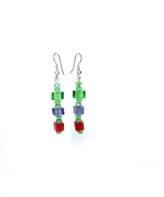 shalini jewlles colourful Crystal Metal Dangle Earring