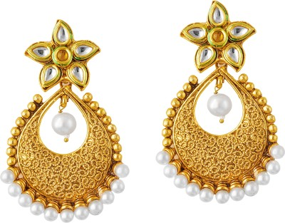 TAKSPIN Drop Hoop Adorned With Pearl Beads Pearl Alloy Drop Earring