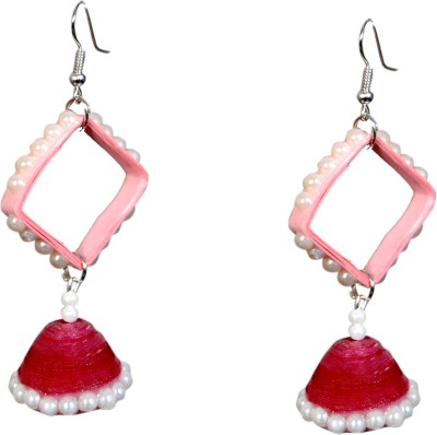Scion Pink Sparkle Beads Paper Dangle Earring