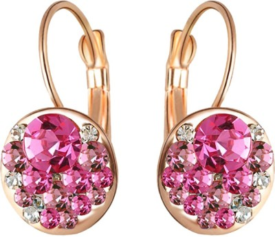 Aaishwarya Striking Pink Crystal Alloy Drop Earring
