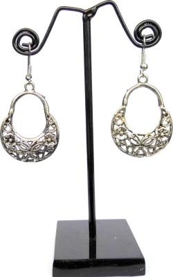 GiftPiper Engraved German Silver Turkish Hoops- Butterfly Pattern German Silver Earring Set