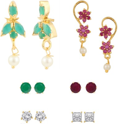 Efulgenz Color Spark Cubic Zirconia Alloy Earring Set