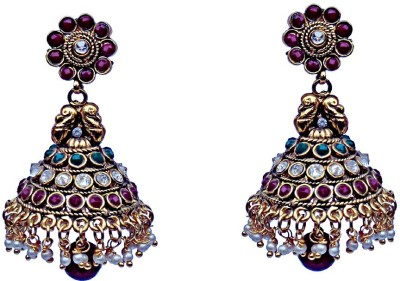 Kundaan Traditional Polki Crystal Copper, Brass Jhumki Earring