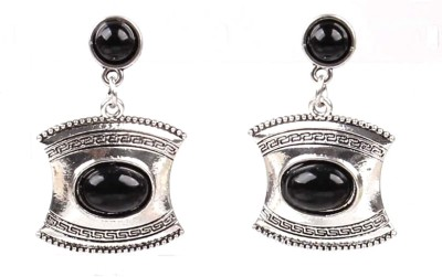Bohocraft Bohemian Pretty Black Turquoise Silver Metal Drop Earring