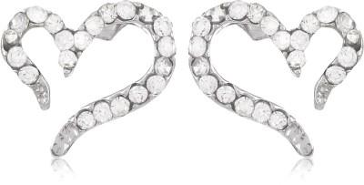 Moedbuille Heart Shaped Silver Cubic Zirconia Alloy Stud Earring