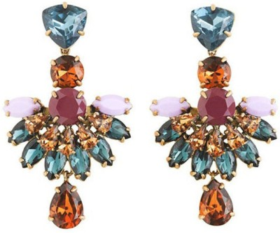 Young & Forever Jeweled Fan Alloy, Crystal Chandelier Earring