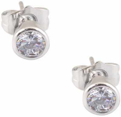 Super Shine Jewelry Spring Sparkle Cubic Zirconia Brass Stud Earring