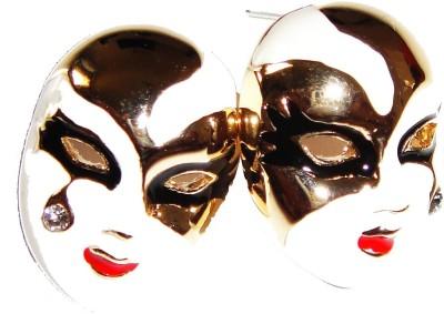 Sans India Golden Bright White Fashion Designer For Girls & Women Plastic, Metal Stud Earring