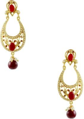 Orniza Rajwadi Earrings in Ruby Color and Golden Polish Brass Chandbali Earring