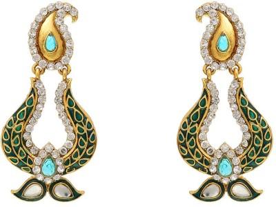 Aaishwarya Traditional Paisley Design Meenakari Green Crystal Brass Chandbali Earring