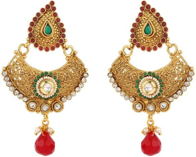 Rajwada Arts Paisley design with Red and Green stones Brass Dangle Earring