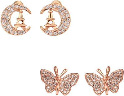 YELLOW CHIMES Titli Rose Gold Stud Earri...