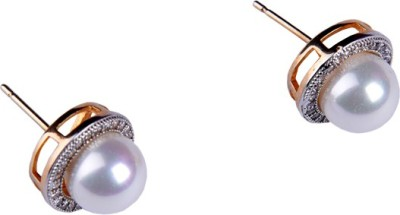 Paridhi Jewels Pearl Earrings Cubic Zirconia Alloy Stud Earring