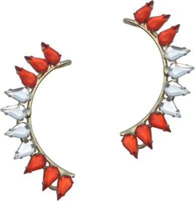 Sankisho Red And White Tika Ear Metal, Alloy, Acrylic Cuff Earring