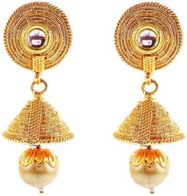 Kenza Brass and Pearl Brass Jhumki Earring