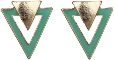 Aaishwarya Fashionable Double V Green Alloy Stud Earring