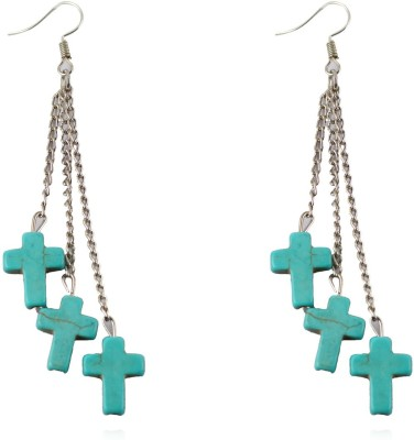 iSweven Trendy Girls Cross Turquoise Drop Tibetan Silver Metal With Long Chain Vintage Jewelry 12*16mm Alloy Dangle Earring