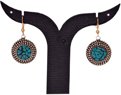 Tradition India TI134 Handmade Designer Stone Studded Traditional Lac Worked Brass Drop Earring