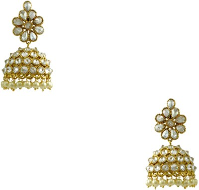 Orniza Chequered Polki Earrings in Clear Color and High Gold Polish Brass Jhumki Earring