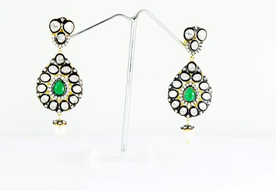 Chouhan Stylish blackish green latkan Metal Drop Earring