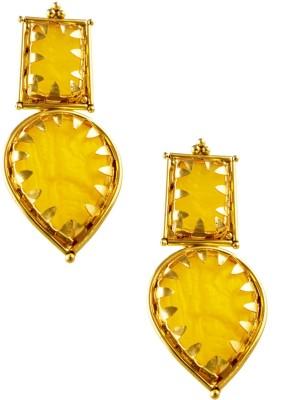 Jahnvi Charming Yellow Metal Drop Earring