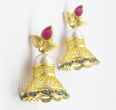 E-Designs ERG49GP1385-1320 Cubic Zirconia Alloy Jhumki Earring