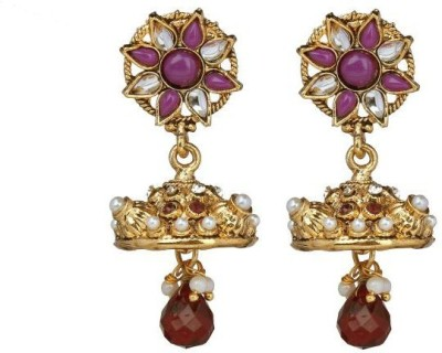 ACW Traditional Jhumka Studded with Purple Stones and Pearls Metal Jhumki Earring