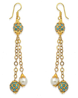Ijuels Fashionable Sparkle Delight Pearl, Turquoise Brass, Alloy Dangle Earring