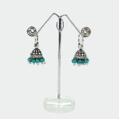 Artisan Turquoise Blue Metal Jhumki Earring
