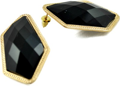 My Sara Small Earrings Black Color For Girls Cubic Zirconia Copper, Brass Stud Earring