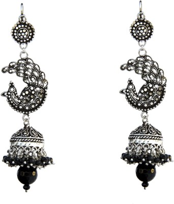 Aashirwad Peacock Oxodise Silver Jhumki Earring