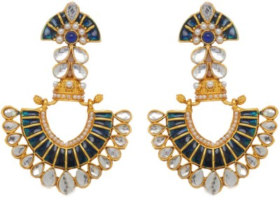 Jaipur Mart New BollyWood stayle Blue Color Brass Drop Earring