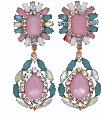 WoW Pink, Blue And White Crystal Alloy Drop Earring