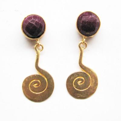 Bhrti semi precious Gold plated Ruby Brass Dangle Earring