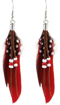 Fayon Weekend Casual Red Feather Alloy Dangle Earring