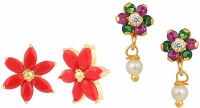 Efulgenz Colour Spark Cubic Zirconia Alloy Earring Set