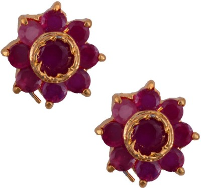 Mahaveer Pearls Rich Pink Ruby Brass Stud Earring