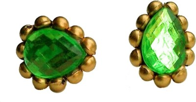 Make My Jhumkas The Royal Parrot Green Paper Stud Earring