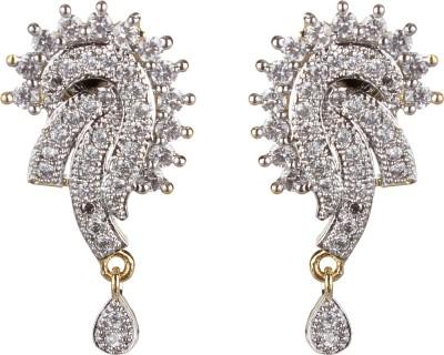 SAADGI Beautiful American Diamond Cubic Zirconia, White Zircon, Zircon Brass, Copper Drop Earring