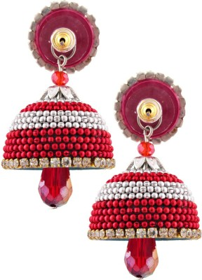 BigCart Hot red With Silver Beauty Brass, Copper Jhumki Earring