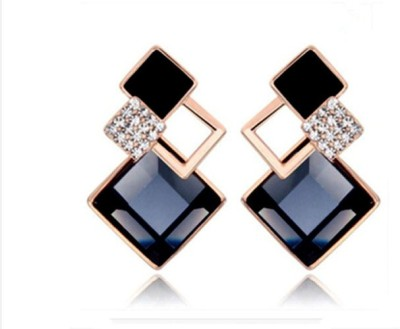 Kundaan Luxury Korean Geomatric Crystal Alloy Drop Earring