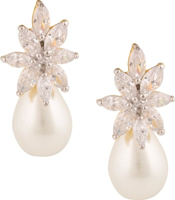 Swasti Jewels Elegant Zircon Ethnic Traditional Pearl Metal Drop Earring